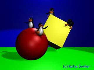 [tux penguins on sphere and cube]